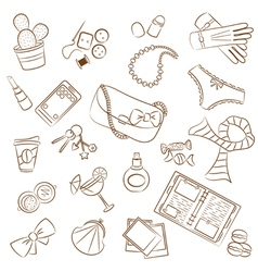 cute doodle female things vector image vector image