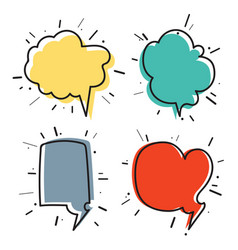 hand drawn thought and speech bubbles04 vector image