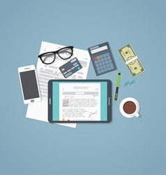Business report tablet vector image vector image