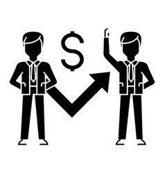 businessmen growth up graph icon vector image