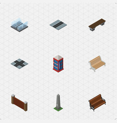 isometric architecture set of dc memorial vector image vector image