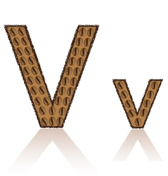 letter v is made grains of coffee isolated on whit vector image vector image