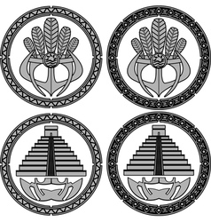 native american indian masks and pyramids vector image vector image