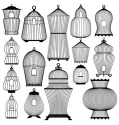 set of decorative black bird cage silhouettes vector image vector image