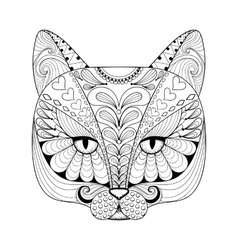zentangle cat print for adult coloring page vector image vector image