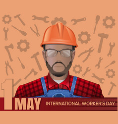 1 may card labor day poster with worker man vector