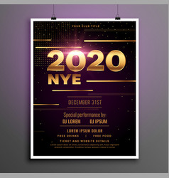 2020 new year eve party golden flyer template vector image