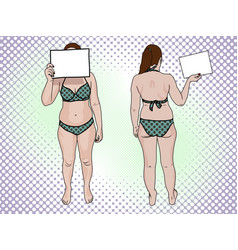a fat woman in a swimsuit holds a sign pop art vector image