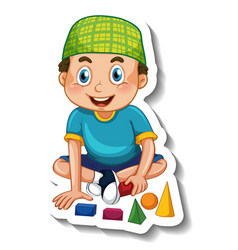 A sticker template with muslim boy playing vector