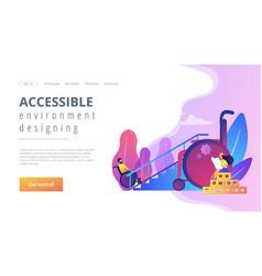 Accessible environment designing concept landing vector