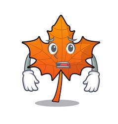afraid red maple leaf mascot cartoon vector image