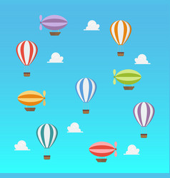 airships and hot ait balloon flying on blue sky vector image