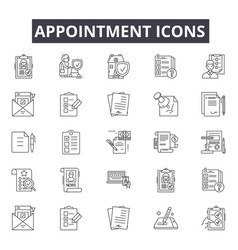 Appointment line icons for web and mobile design vector