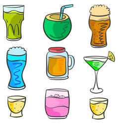 Art drink various doodles vector