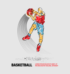 Basketball player jumping with ball slam dunk vector