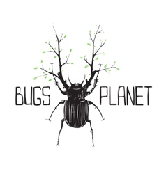 Big Black Beetle Insect and Nature Symbol vector image