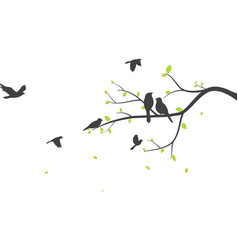 Bird with tree silhouette background vector