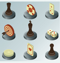 Board game color isometric icons vector