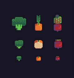 broccoli onions and beets pixel art icons set vector image