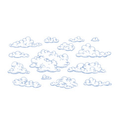 bundle fluffy clouds drawn with contour lines vector image