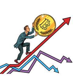 businessman roll a bitcoin coin up vector image