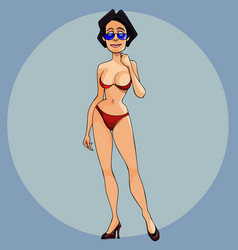 cartoon woman in a red bathing suit and high vector image