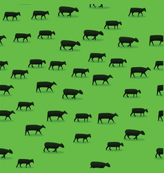 cattle walking on green field pattern background vector image