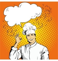Chef with speech bubble shows OK sign vector image