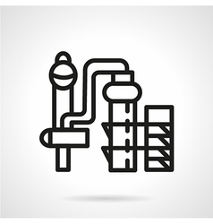Chemical plant black line icon vector