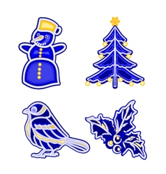Christmas decoration blue faience vintage snowman vector
