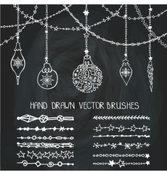 Christmas garland brushesballsChalkboard vector