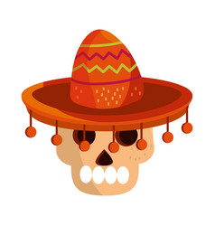 cinco de mayo skull with hat traditional vector image