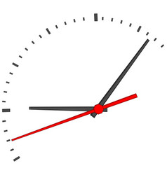 Clock face with red second hand vector
