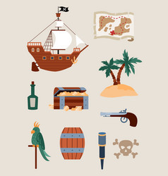 Collection pirate accessories and icons flat vector