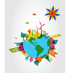Colorful world eco friendly concept vector image