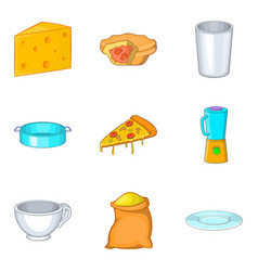 Cooking pie icons set cartoon style vector