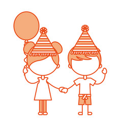 cute kids with balloons air party characters icon vector image