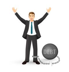 Debt free happy man in suit on vector