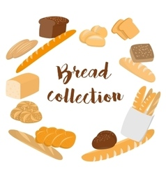 Different kinds of bread set for cafe menu vector image