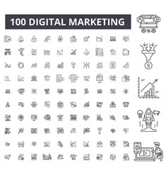 digital marketing editable line icons 100 vector image
