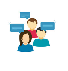 Discussion group flat cartoon vector