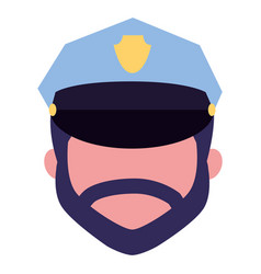 face character policeman with hat vector image