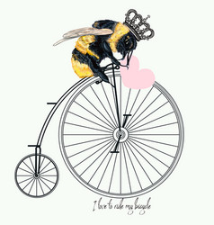 fashion apparel print bumble bee on bicycle vector image