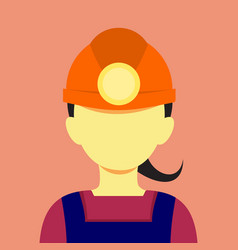 female miner flat style mining graphic vector image