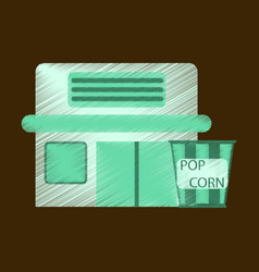 flat icon in shading style building cinema popcorn vector image