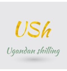 Golden Symbol of Ugandan Shilling vector