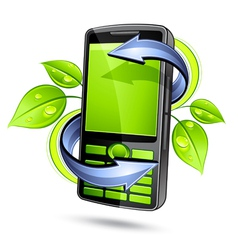 Green eco mobile telephone vector