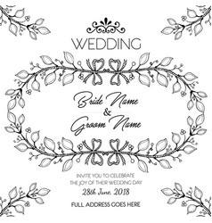 Hand drawn black and white floral wedding vector
