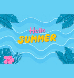 hand drawn hello summer background on beach vector image
