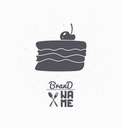 hand drawn silhouette of cake with cherry vector image